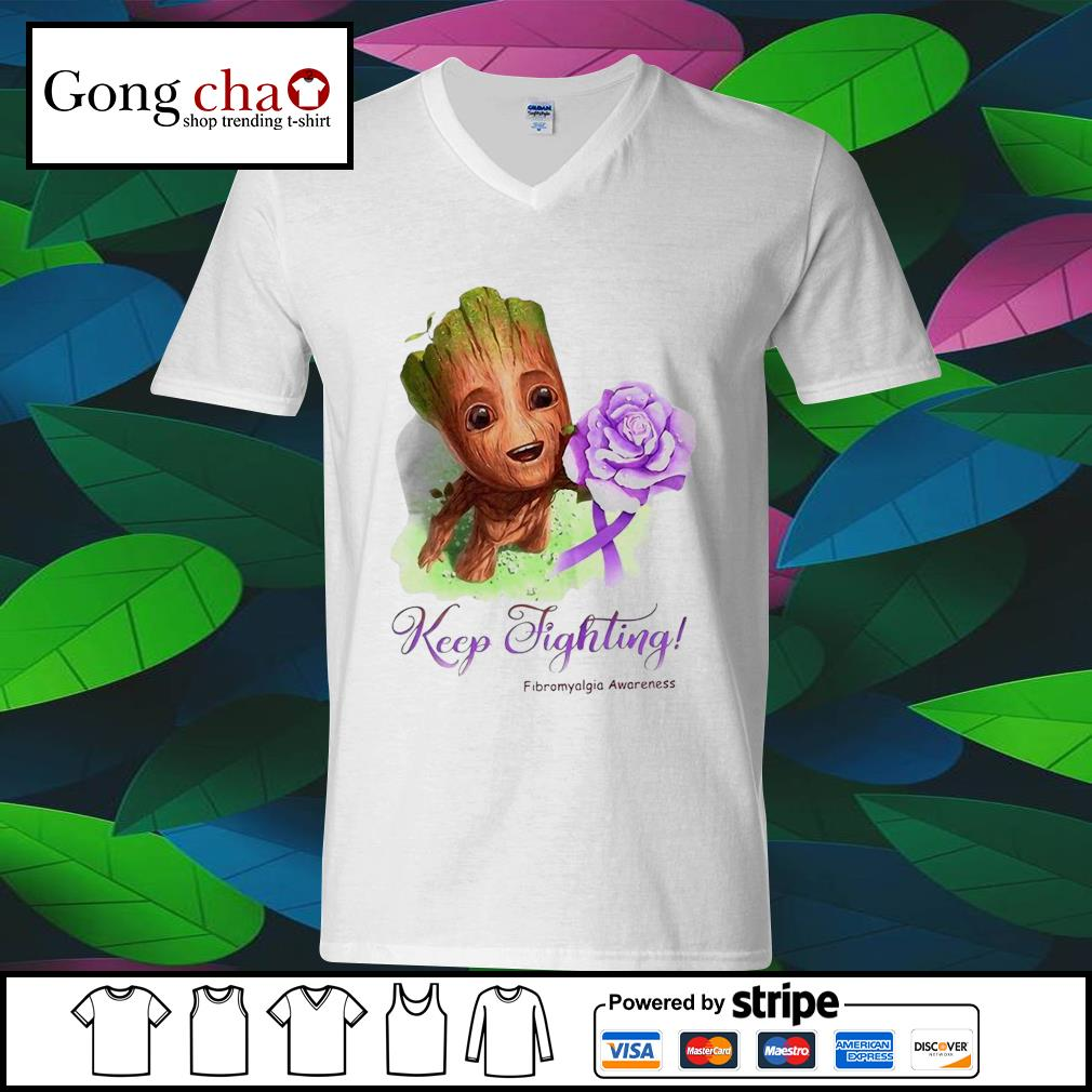 Baby Groot keep fighting Fibromyalgia Awareness s ladies-tee