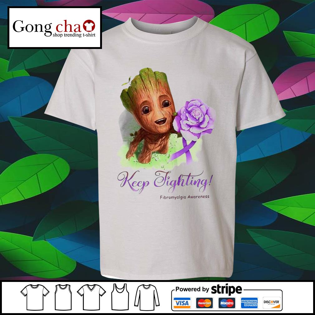 Baby Groot keep fighting Fibromyalgia Awareness s youth-tee