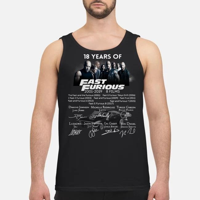 18 Years of Fast Furious 2001-2019 8 films signature Tank top