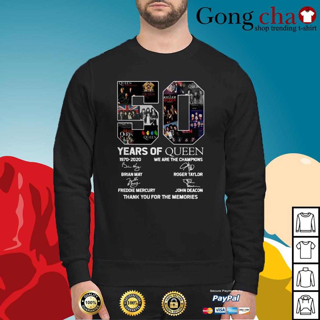 50 Years of Queen 1970-2020 we are the champions thank you for the memories Sweater