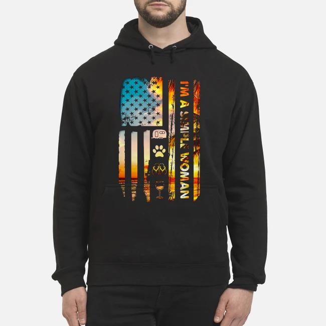 American flag I'm a simple woman I like camping dog paw flip flops and wine Hoodie