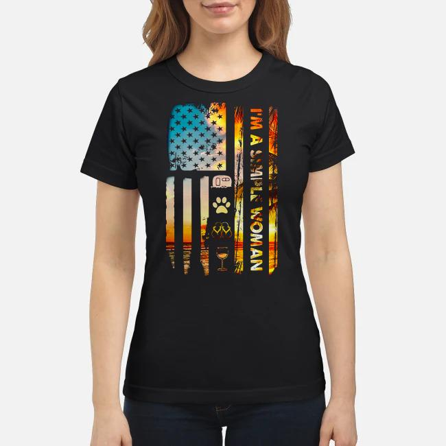 American flag I'm a simple woman I like camping dog paw flip flops and wine Ladies tee