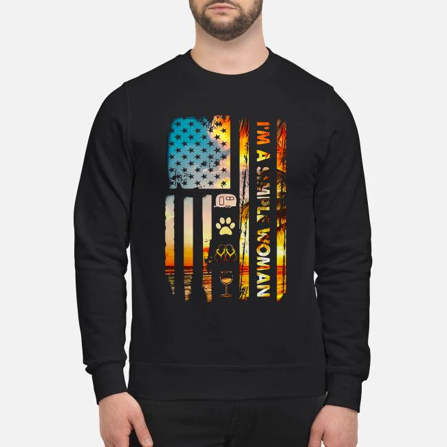 American flag I'm a simple woman I like camping dog paw flip flops and wine Sweater
