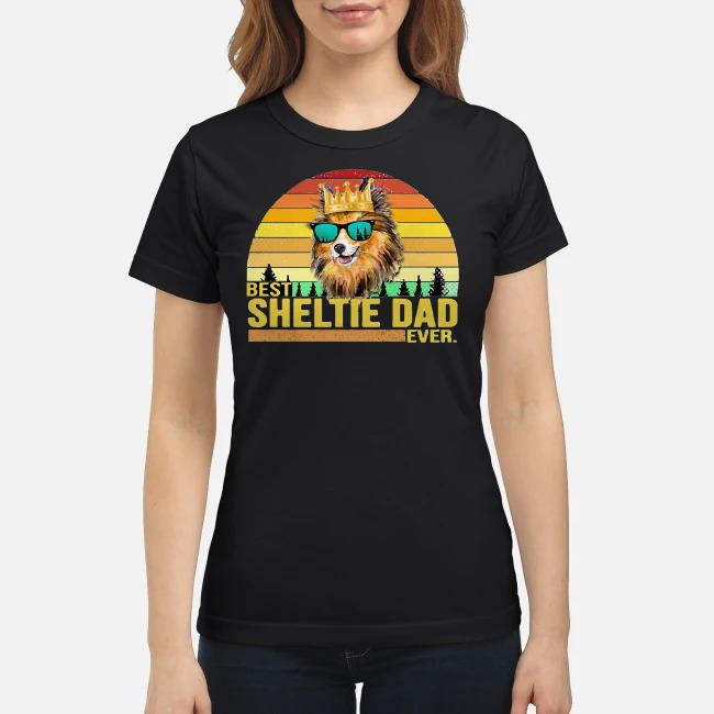 Best Sheltie dad ever vintage Ladies tee
