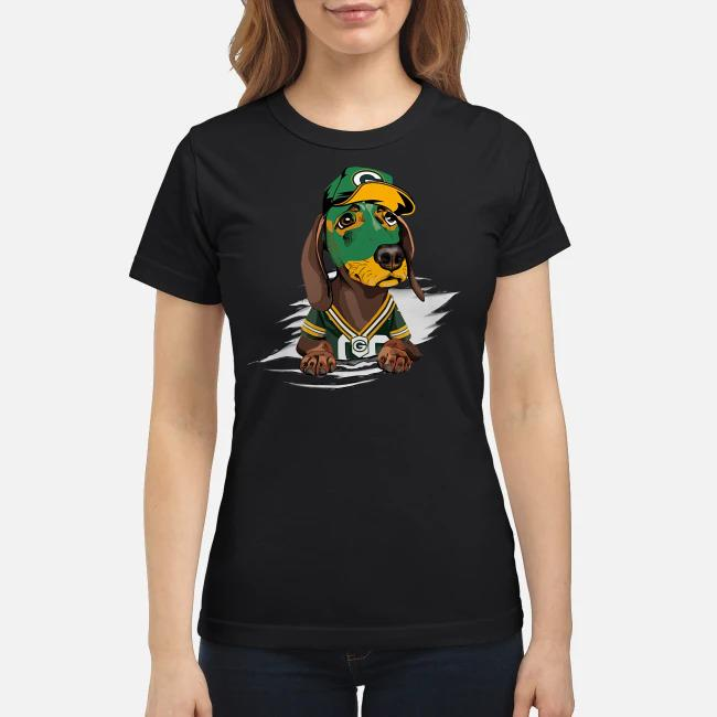 Dachshund the green bay Packers Ladies tee