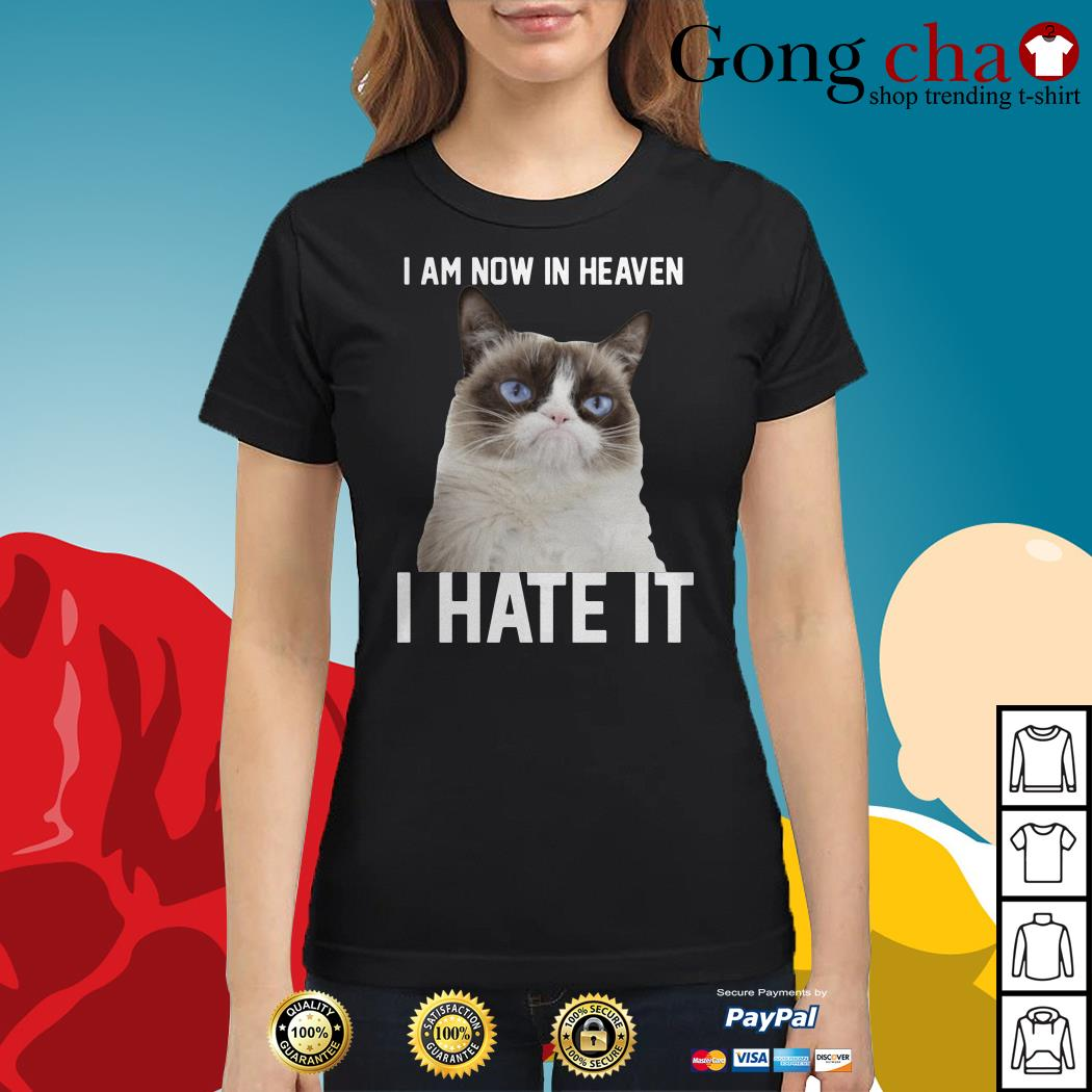 Grumpy cat I am now in heaven I hate it Ladies tee