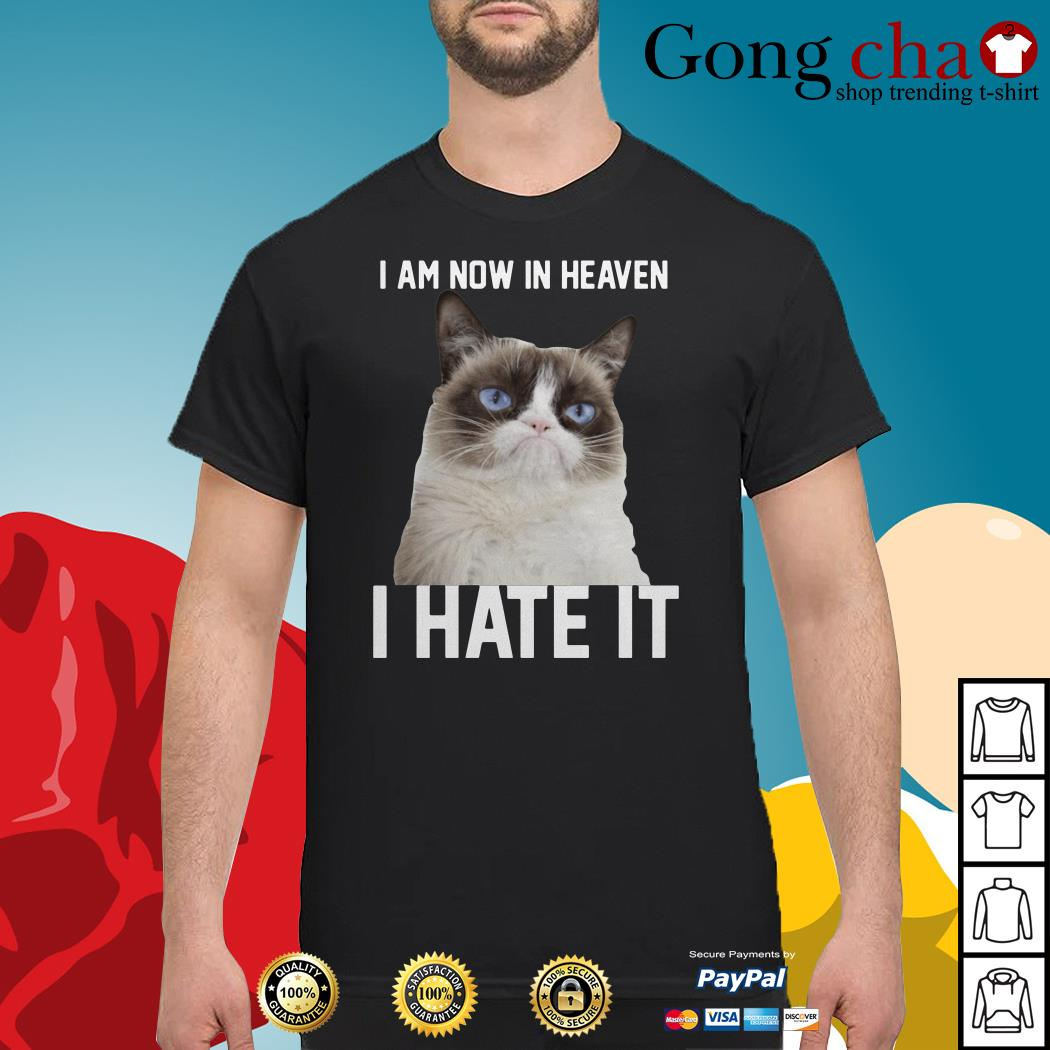 Grumpy cat I am now in heaven I hate it shirt