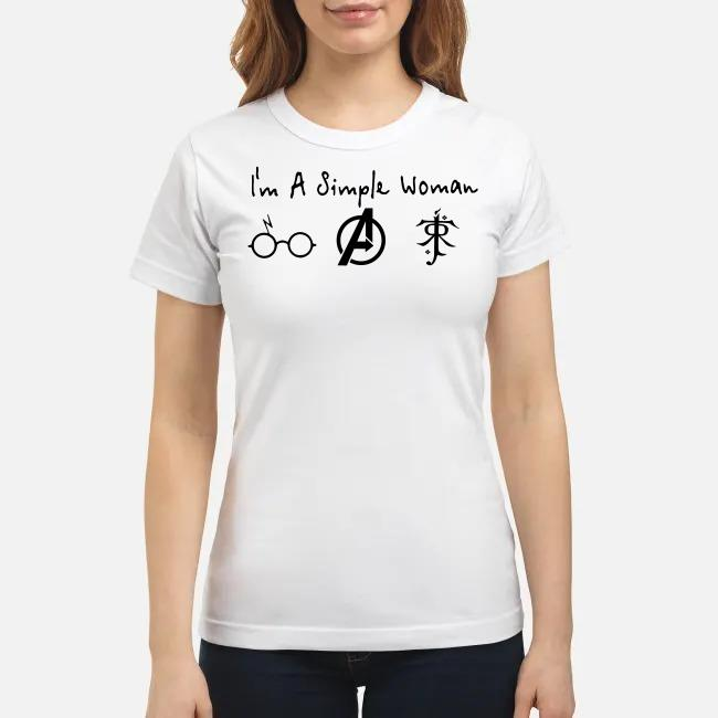 I'm a simple woman I like Harry Potter Avenger and Lord Of The Rings Ladies tee