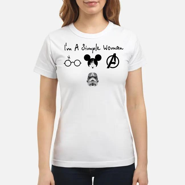 I'm a simple woman I like Harry Potter Disney and Avengers and Star Wars Trooper Ladies tee