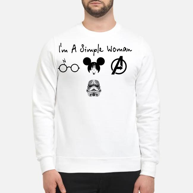 I'm a simple woman I like Harry Potter Disney and Avengers and Star Wars Trooper Sweater