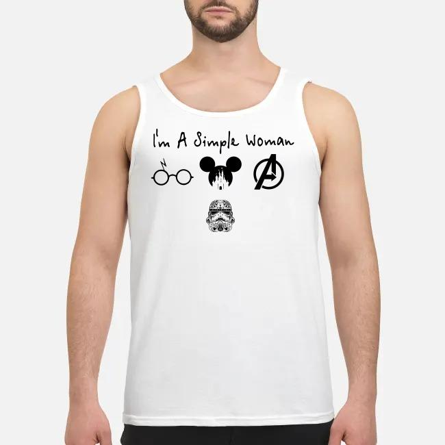 I'm a simple woman I like Harry Potter Disney and Avengers and Star Wars Trooper Tank top