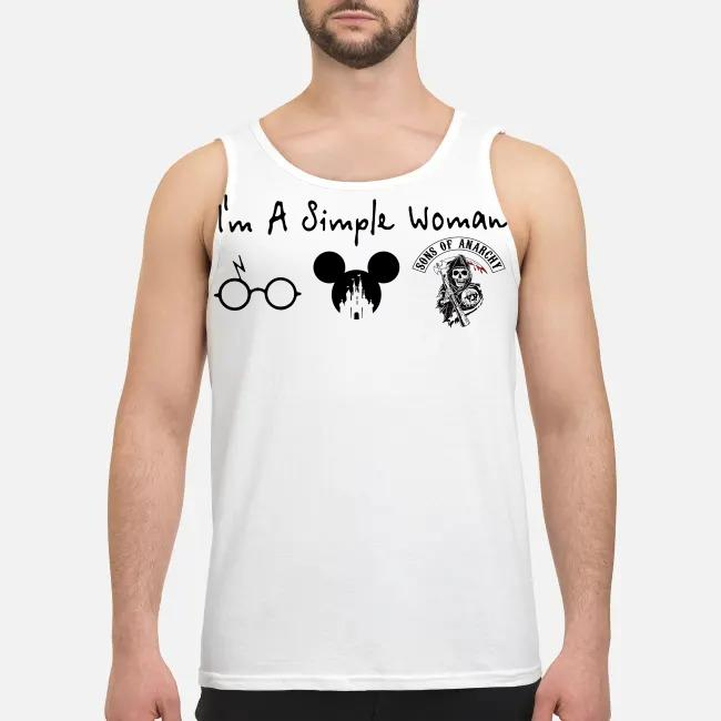 I'm a simple woman I like Harry Potter Disney and Son of anarchy Tank top