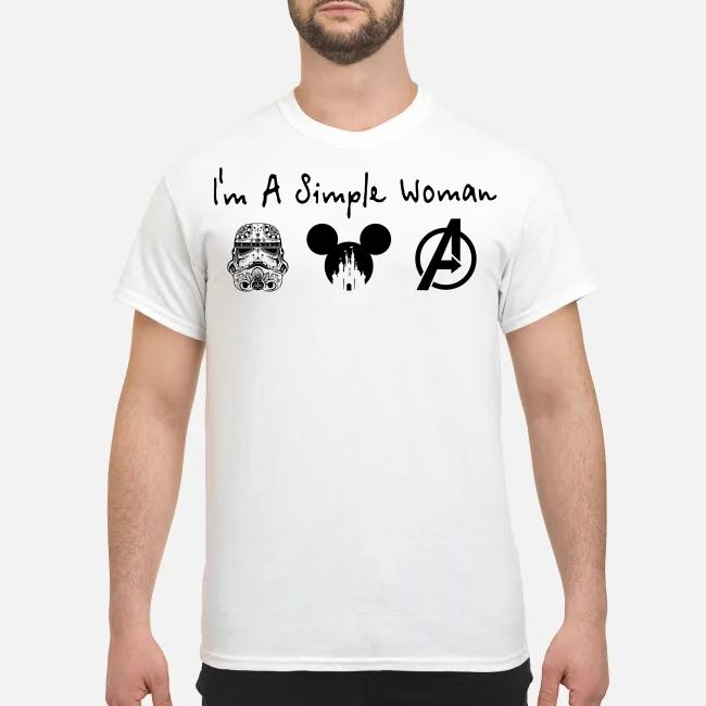 I'm a simple woman I like Star Wars Trooper and Disney and Avenger shirt