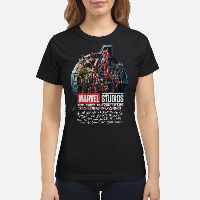 Marvel studios the first eleven years all characters signature Avengers Ladies tee