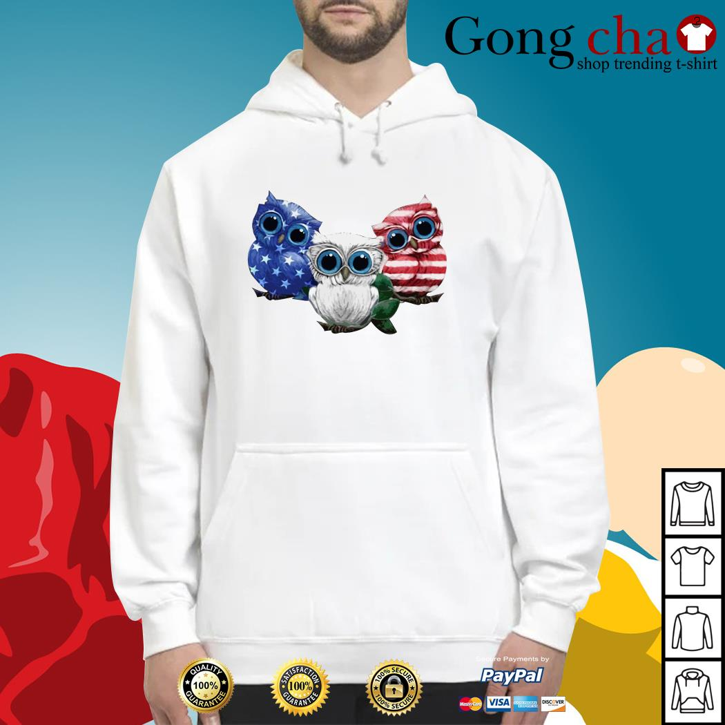 Owls blue white and red American flag Hoodie
