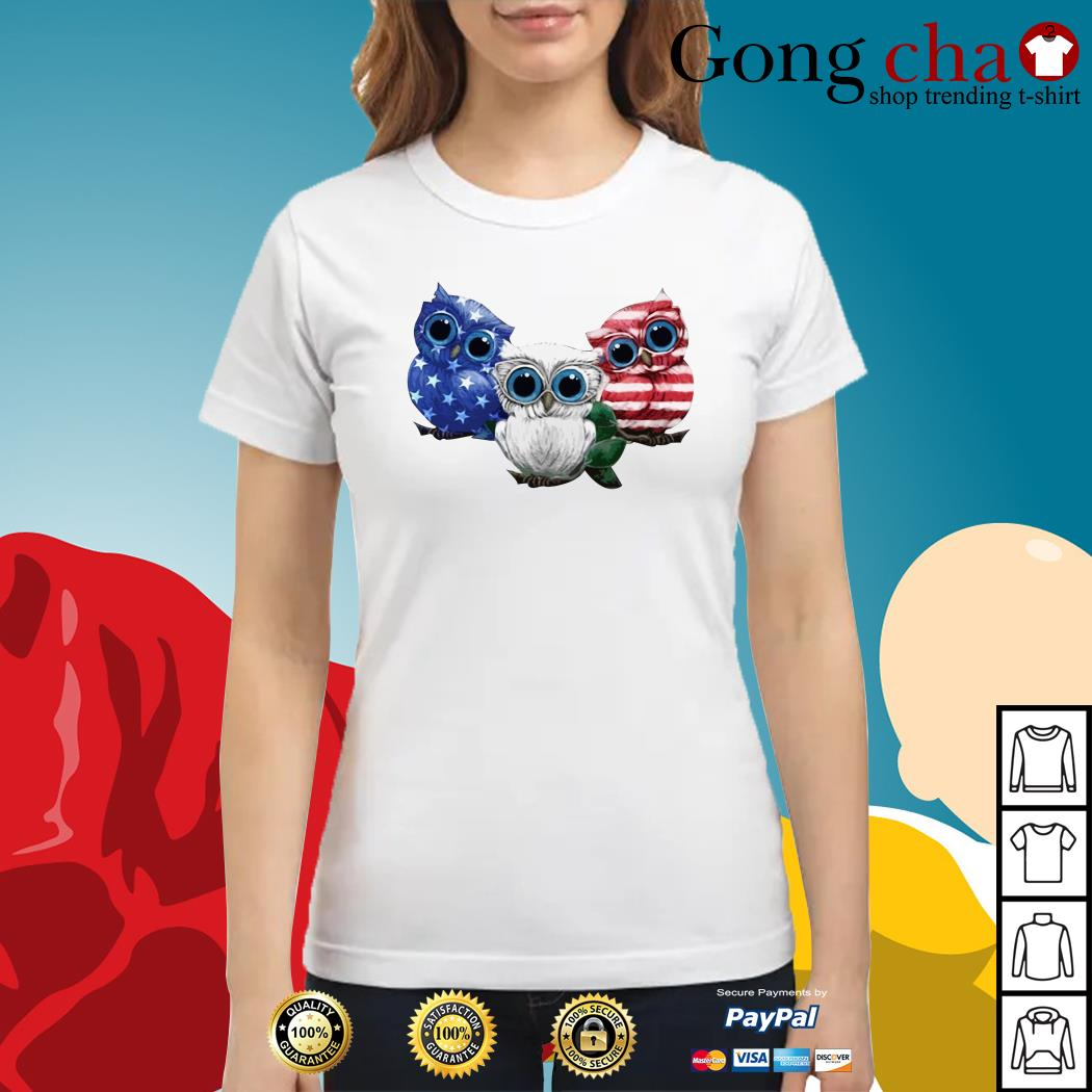 Owls blue white and red American flag Ladies tee