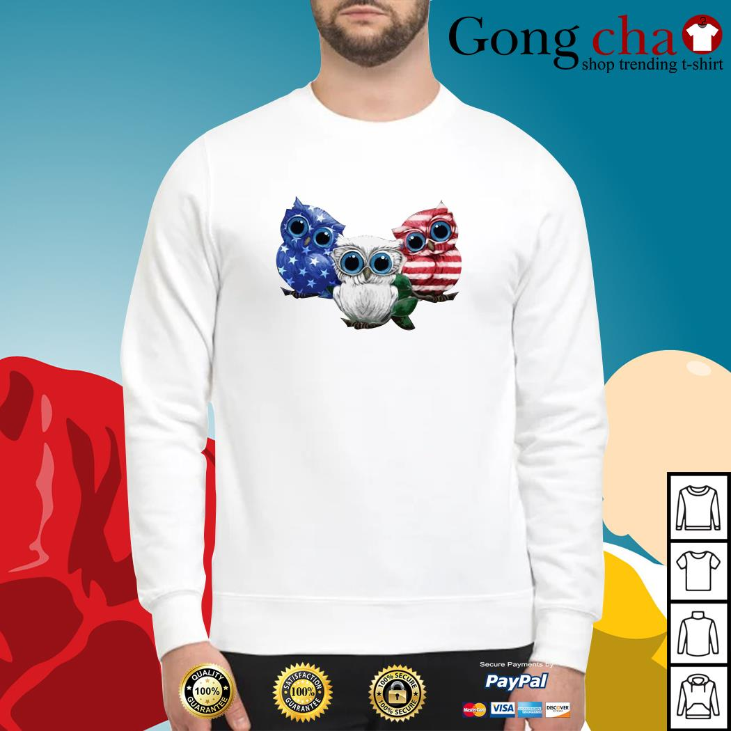 Owls blue white and red American flag Sweater