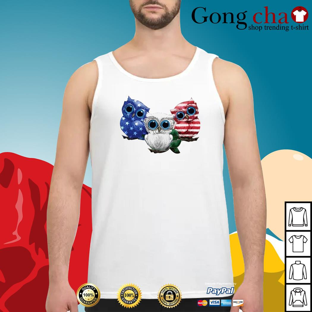 Owls blue white and red American flag Tank top