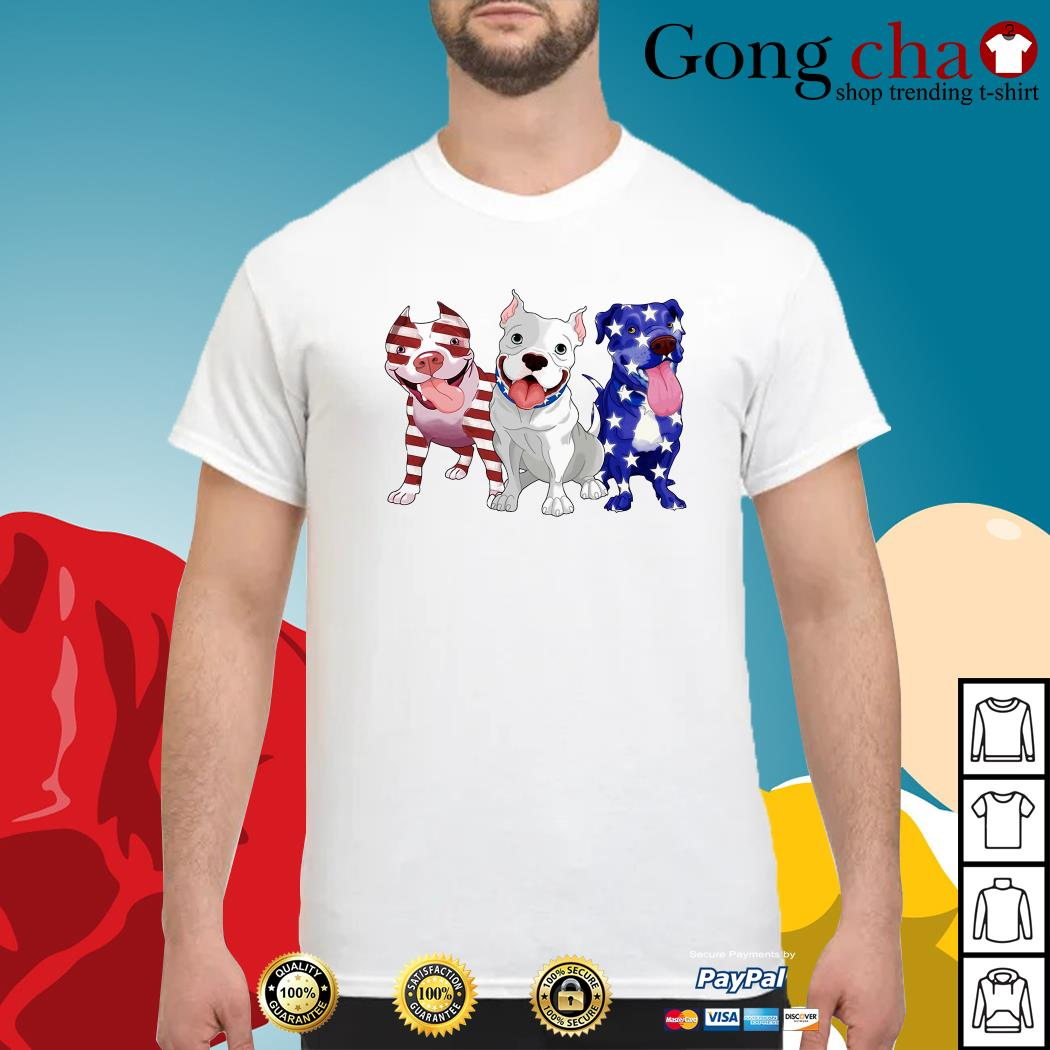 Red white and blue pitbull American flag shirt