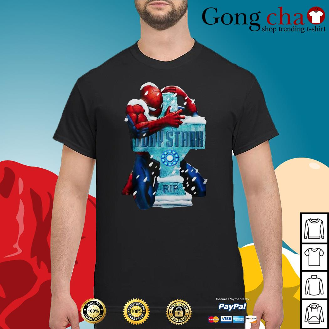 Spiderman hugging RIP Tony Stark shirt