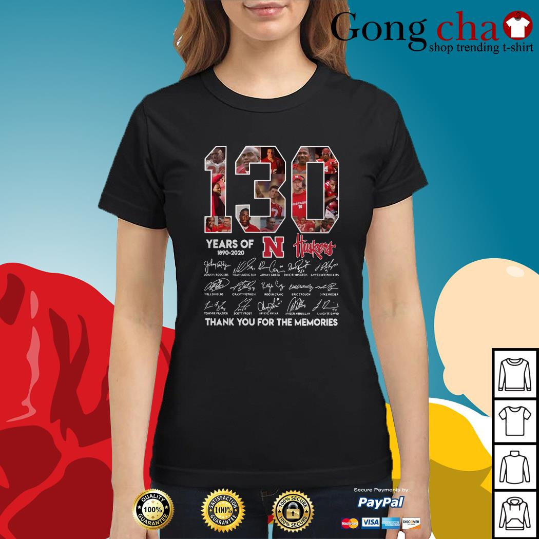 130 Years of Huskers 1890-2020 thank you for the memories signature Ladies tee