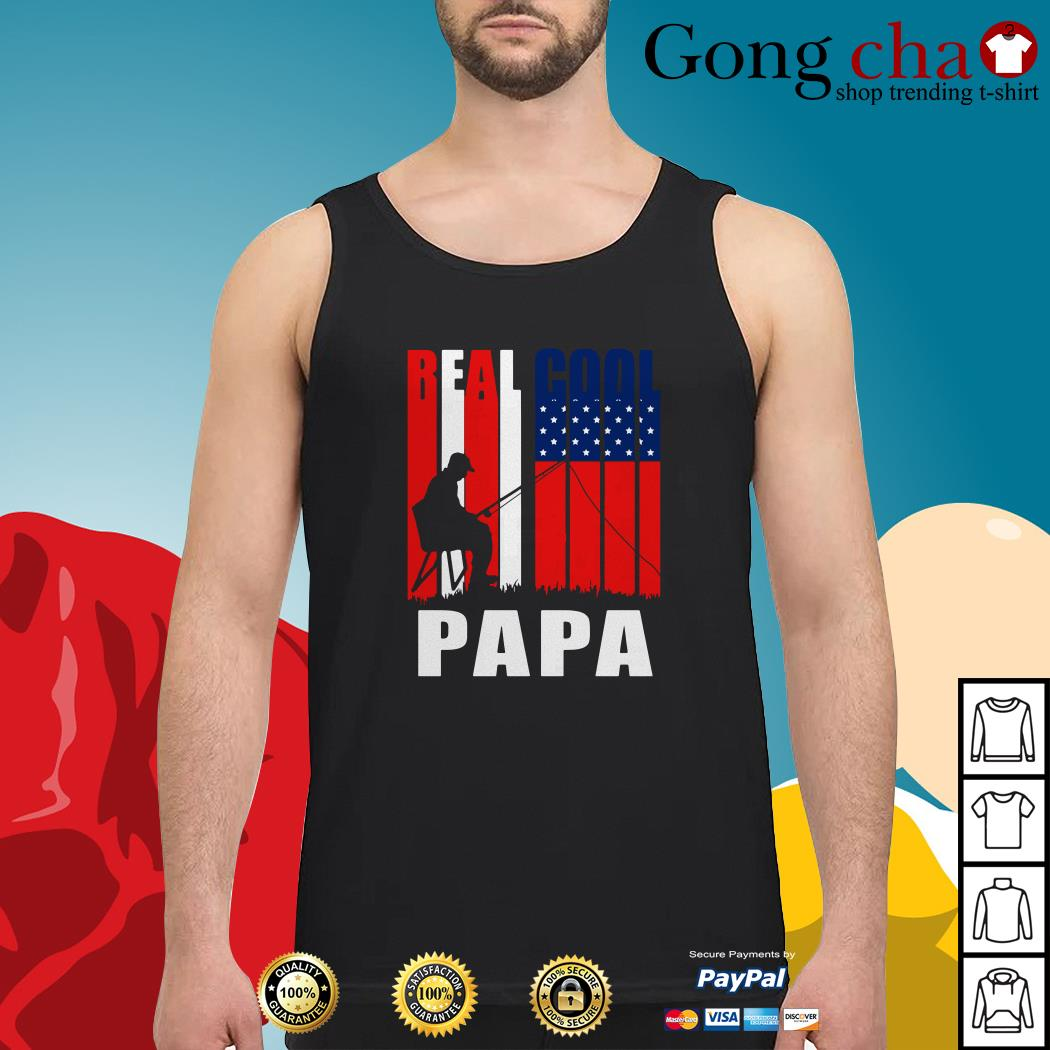 4th July independence day real cool Papa fishing lover Tank top