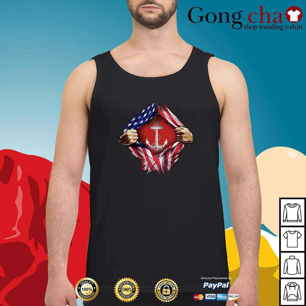 Anchor blood inside me 4th of July independence day Tank top