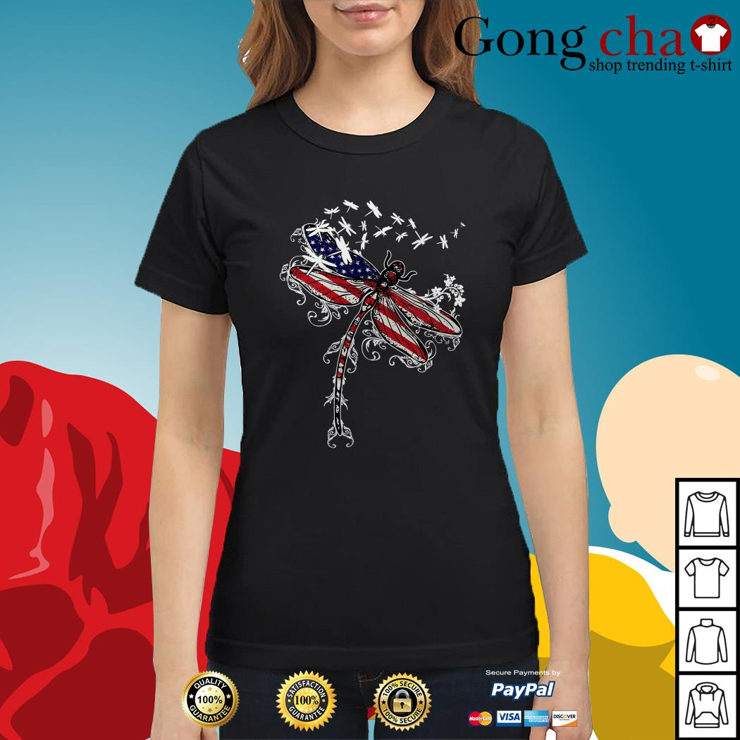 Dragonfly 4th of July independence day Ladies tee