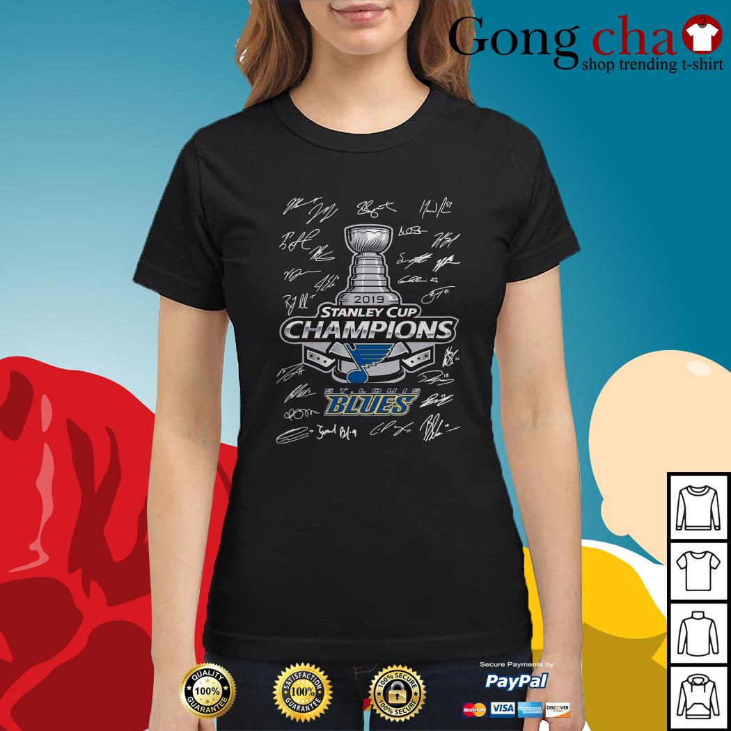 St Louis Blues 2019 Stanley Cup Champions signature Ladies tee