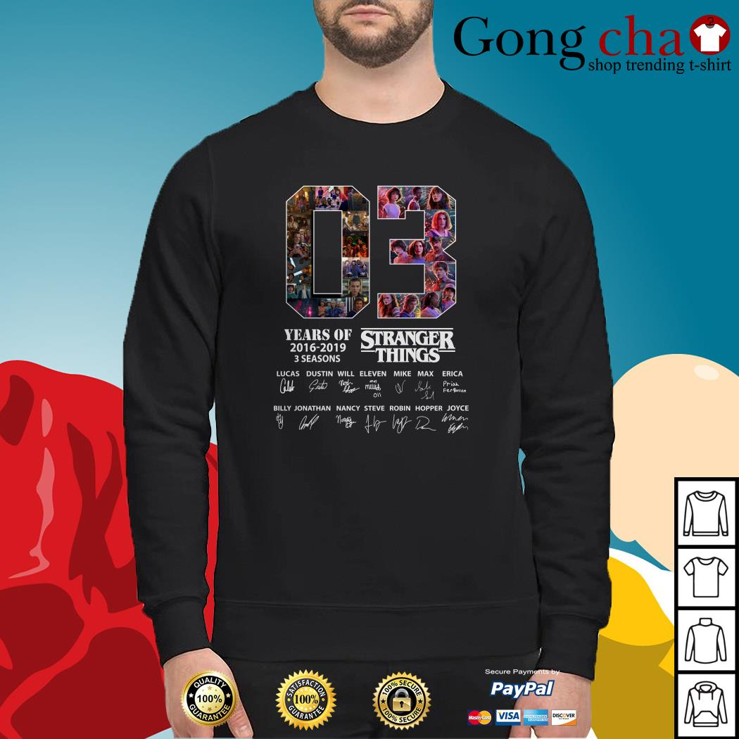 03 Years of Stranger Things 2016-2019 3 seasons Lucas Dustin Will signatures Sweater