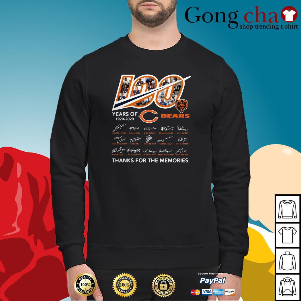 100 Years of 1920-2020 Chicago Bears thank for the memories signatures Sweater
