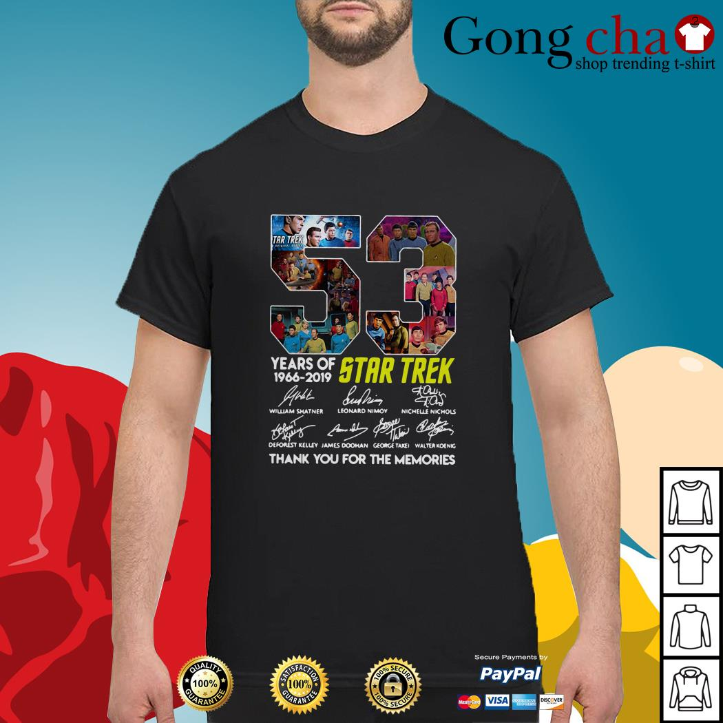 53 Years of Star Trek 1966-2019 thank you for the memories signatures shirt