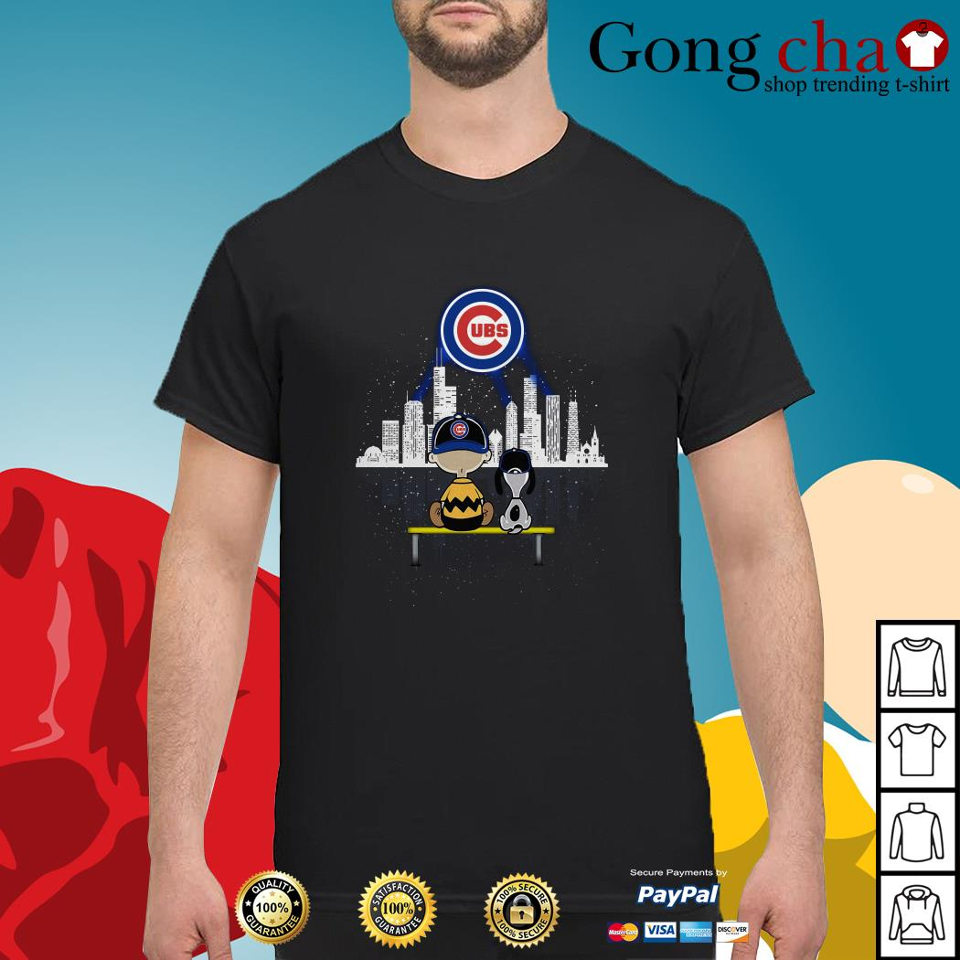 Charlie Brown and Snoopy dog watching City Chicago Cubs shirt