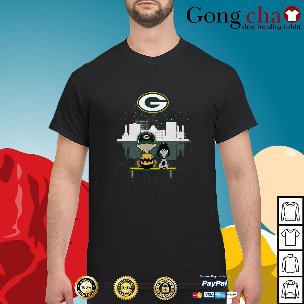 Charlie Brown and Snoopy dog watching Green Bay Packers shirt