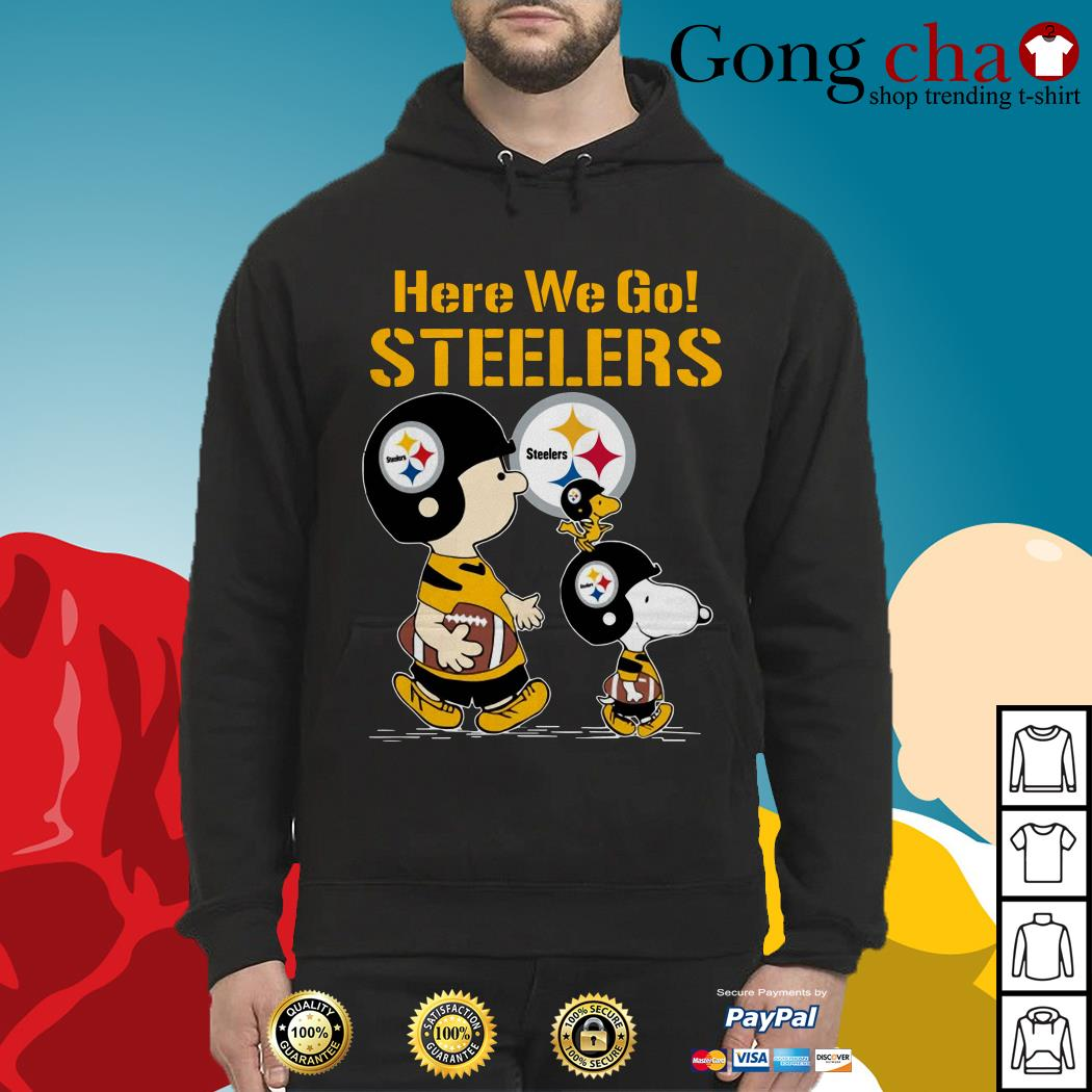 low priced 52e9c ca9da Charlie Brown and Snoopy here we go Steelers shirt