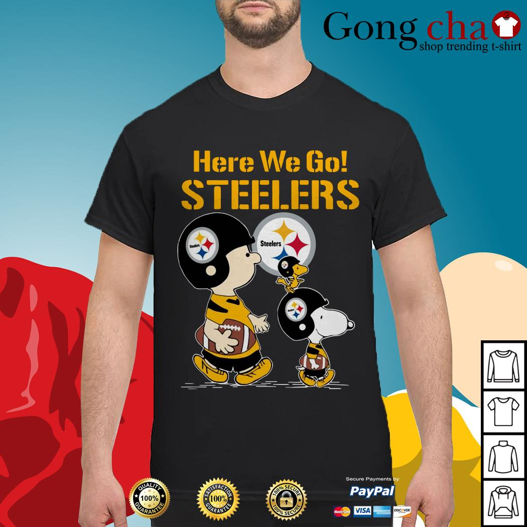 low priced 2ba7b 0076b Charlie Brown and Snoopy here we go Steelers shirt
