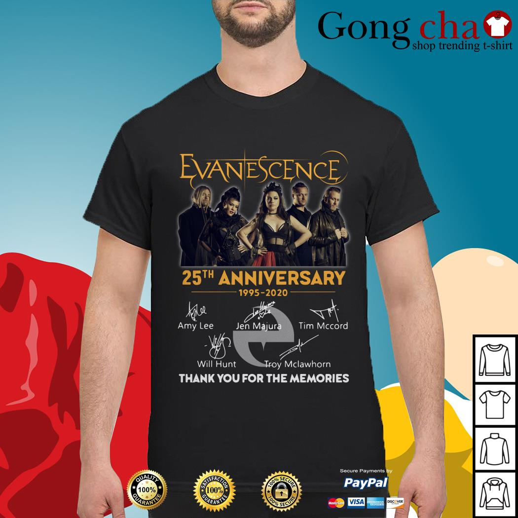 Evanescence 25th anniversary 1995-2020 thank you for the memories shirt