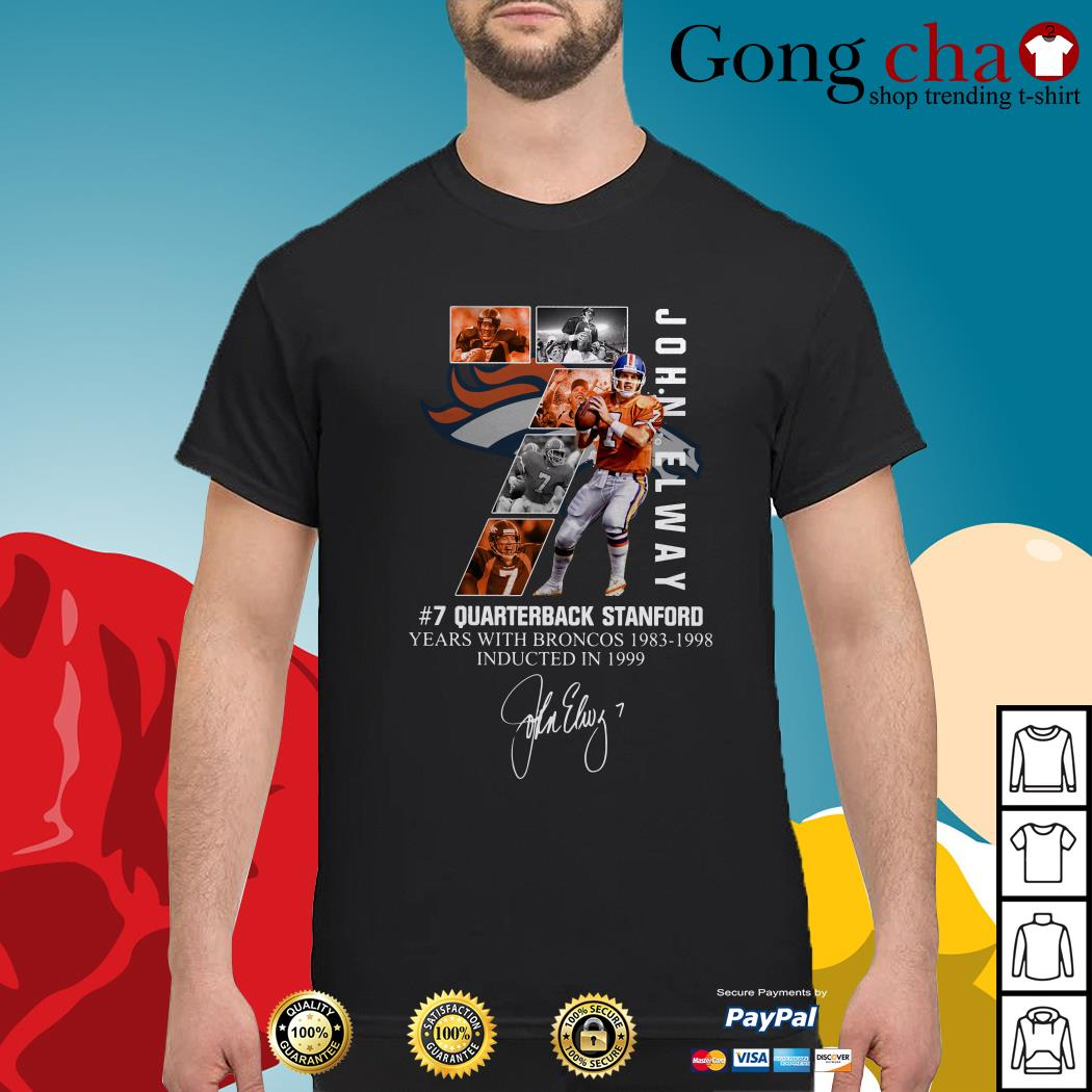 cheap for discount 215ed 6082b John Elway 7 quarterback Stanford years with Broncos 1983-1998 shirt