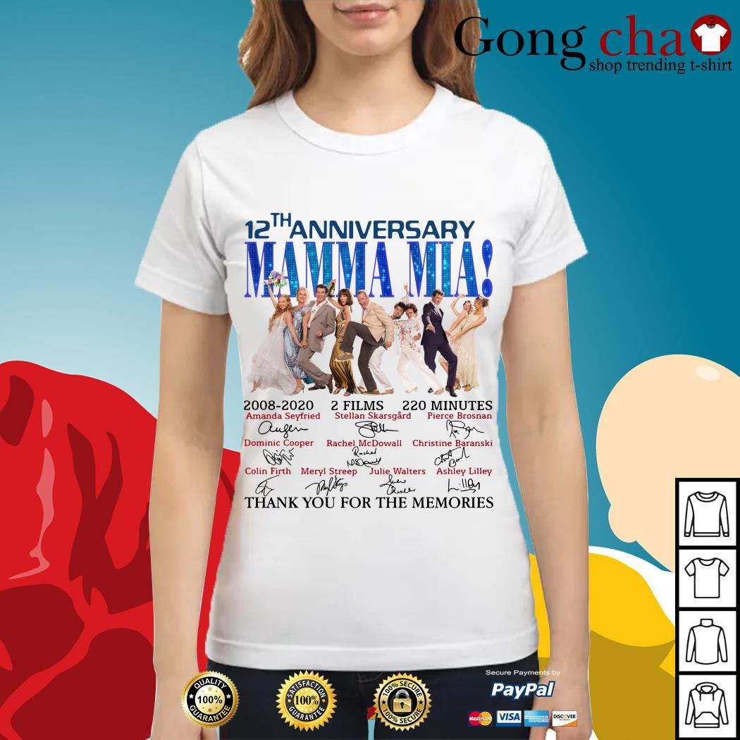 12th anniversary Mamma Mia thank you for the memories Ladies tee