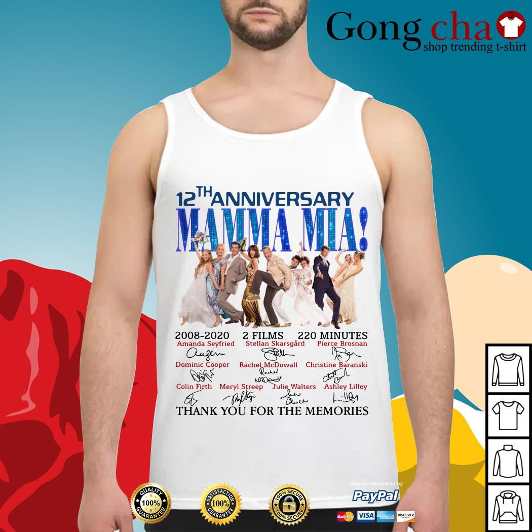 12th anniversary Mamma Mia thank you for the memories Tank top