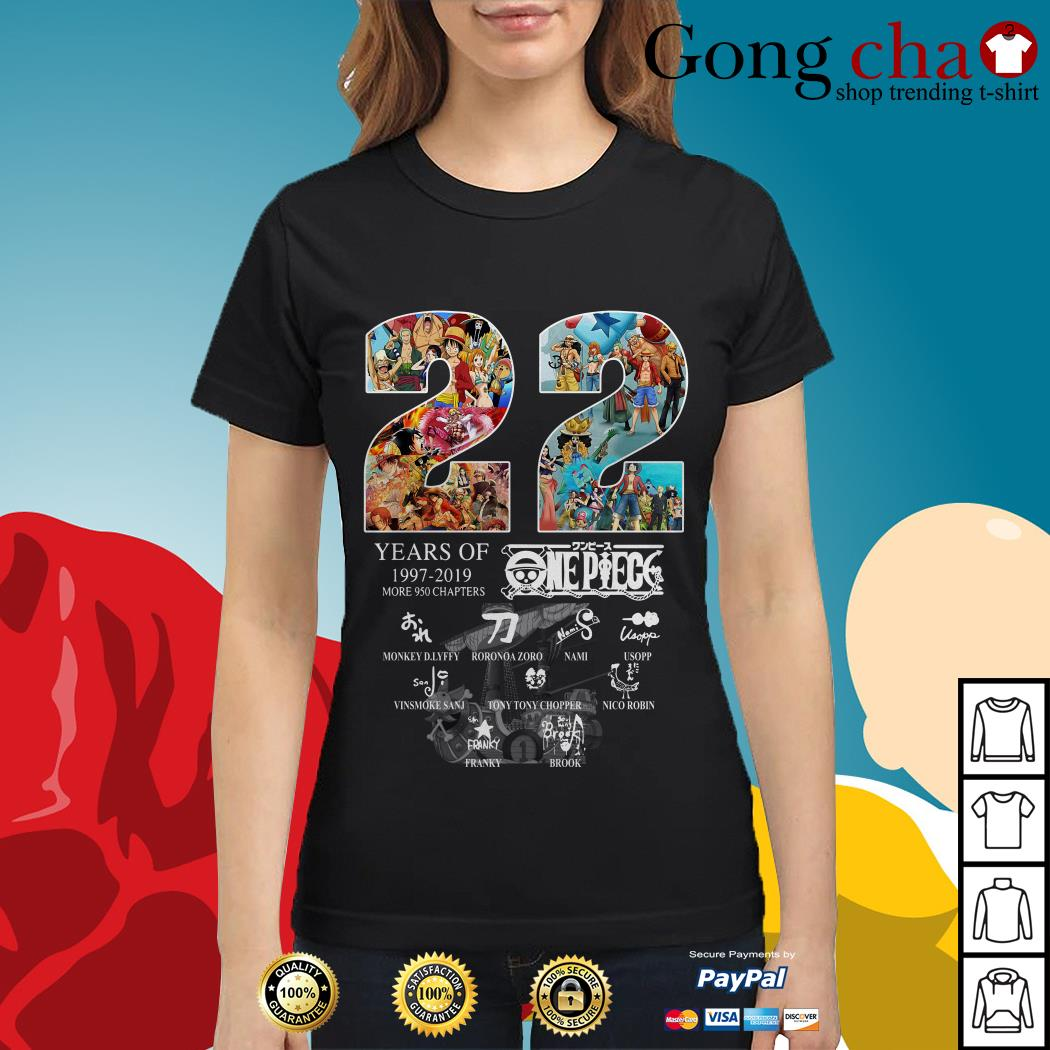 22 Years of One Piece 1997-2019 more 950 chapters signature Ladies tee