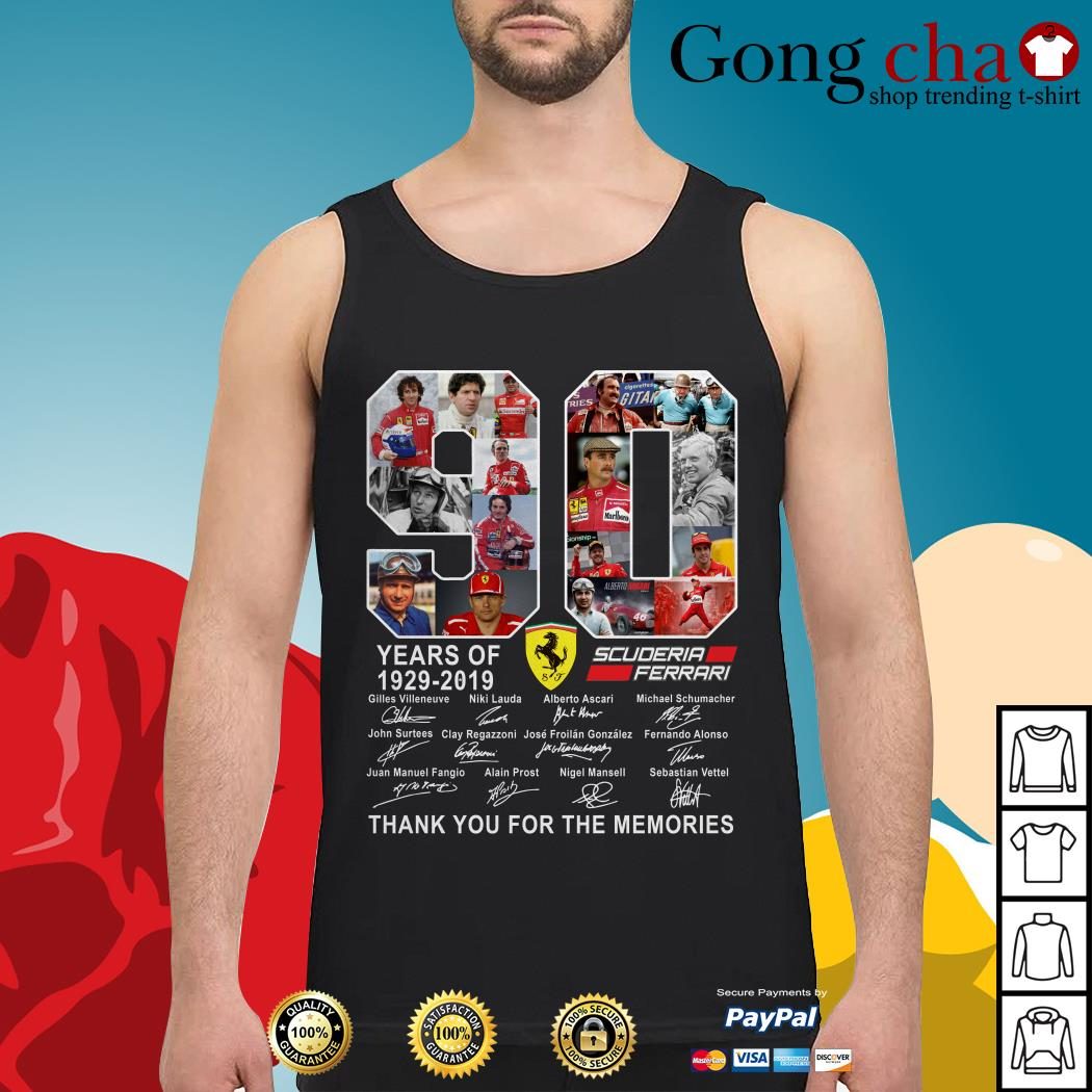 90 years of Scuderia Ferrari 1929-2019 thank you for the memories Tank top