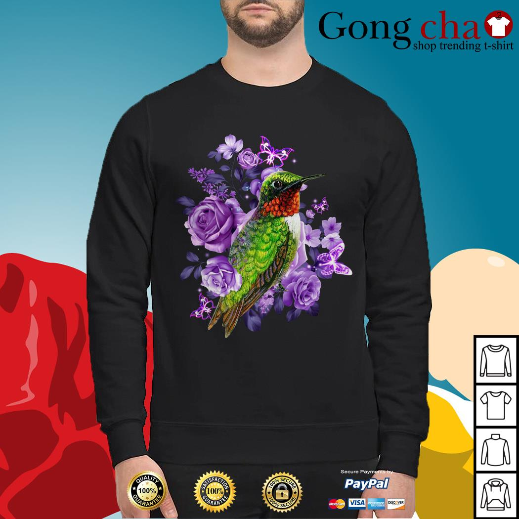 Hummingbird purple flowers Sweater