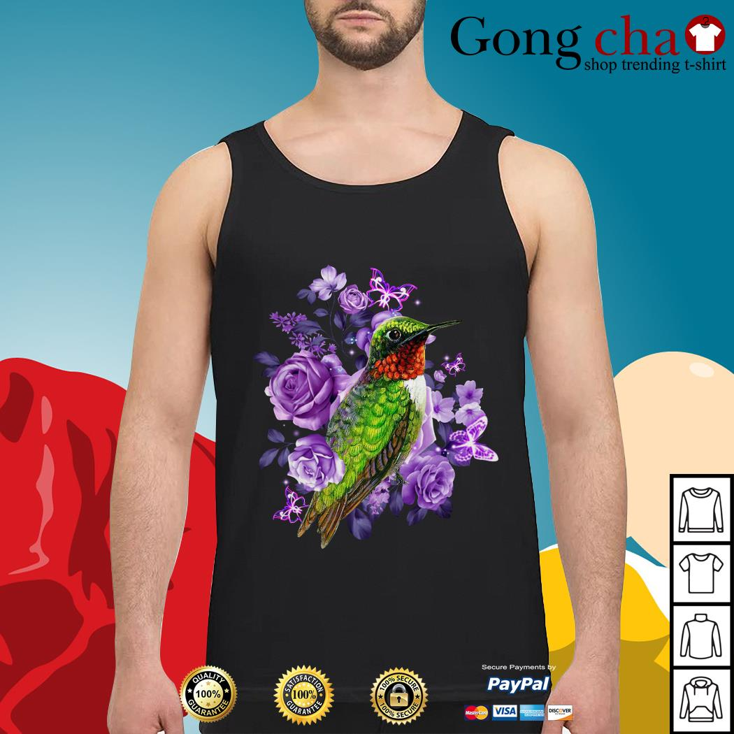 Hummingbird purple flowers Tank top