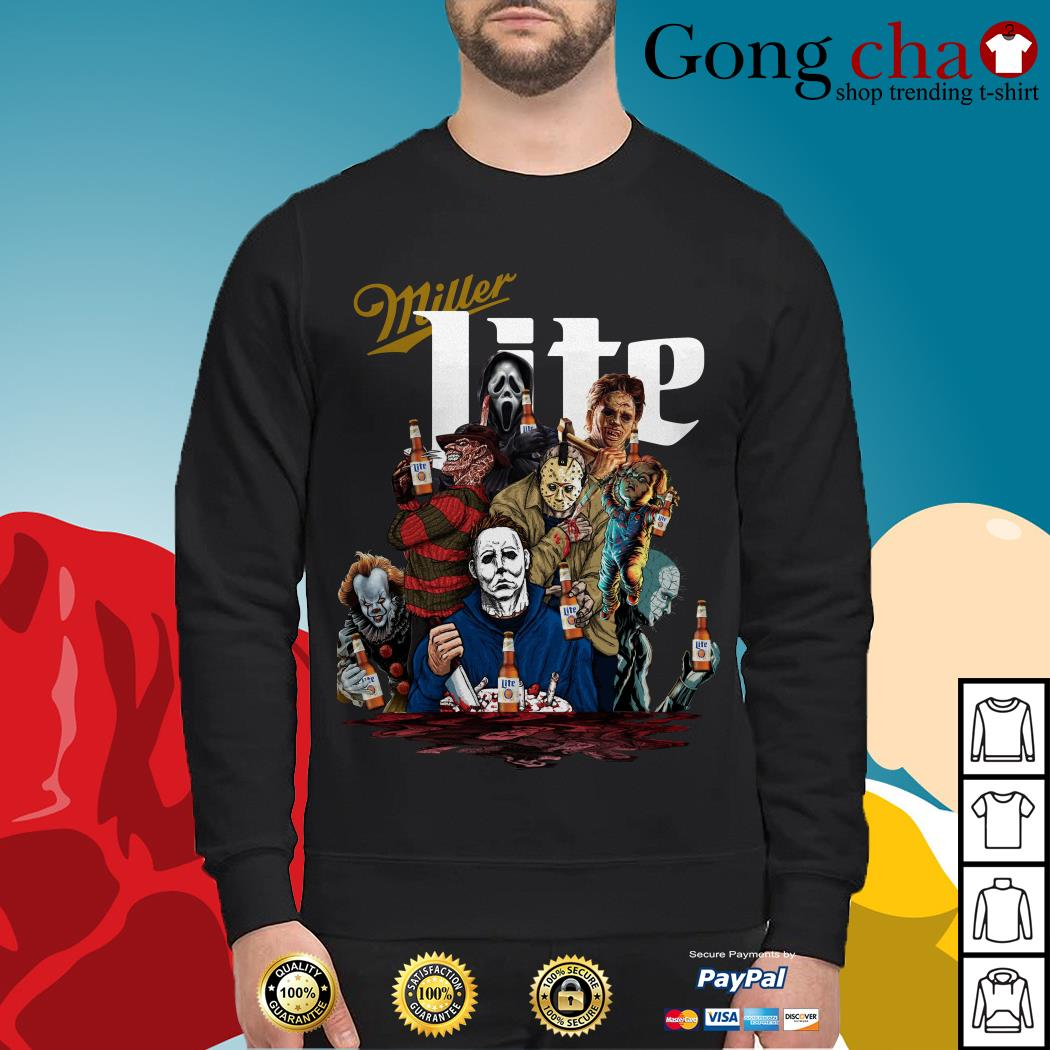 Miller Lite horror characters movies Sweater