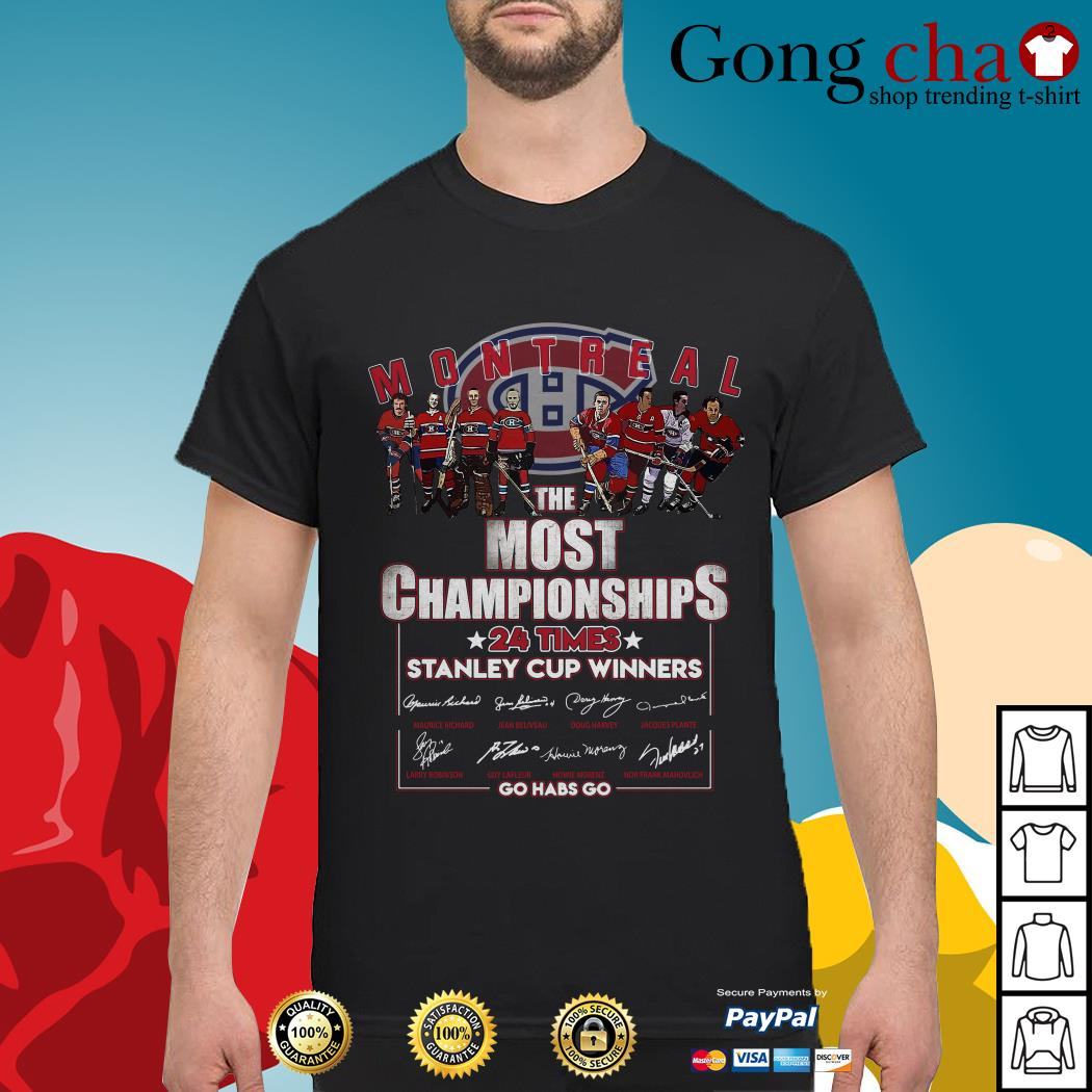 Montreal the most championships 24 times Stanley Cup Winners signature shirt