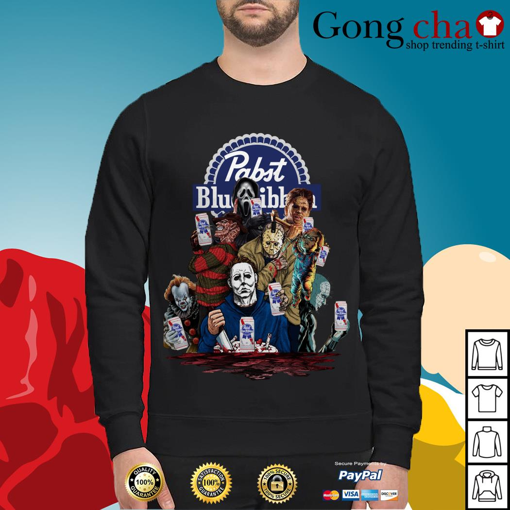Pabst Blue Ribbon Horror Characters Movies Shirt, Sweater