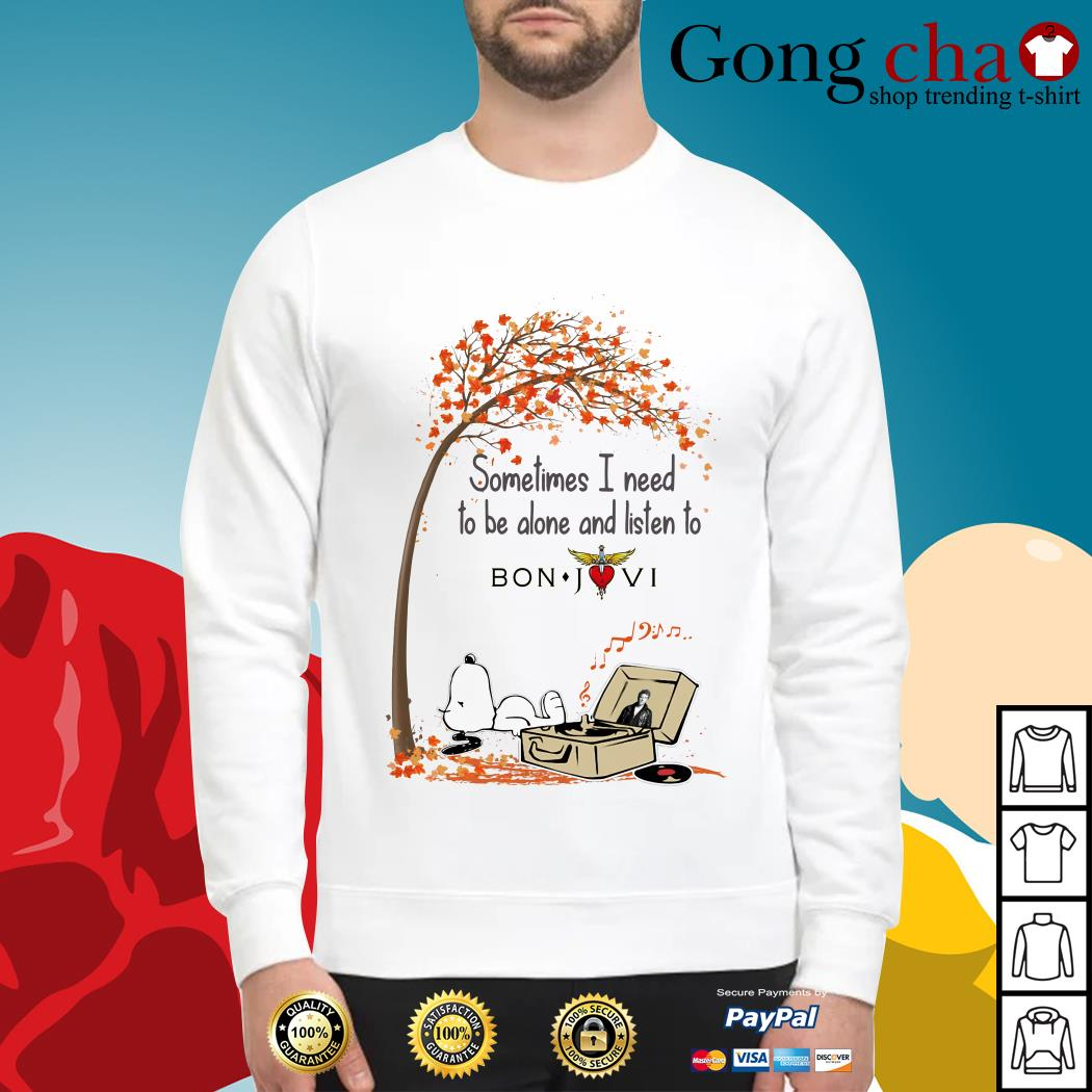Snoopy sometimes I need to be alone and listen to Bon Jovi Sweater