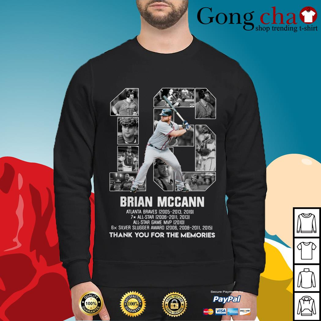 16 Brian Mccann Atlanta Braves thank you for the memories Sweater