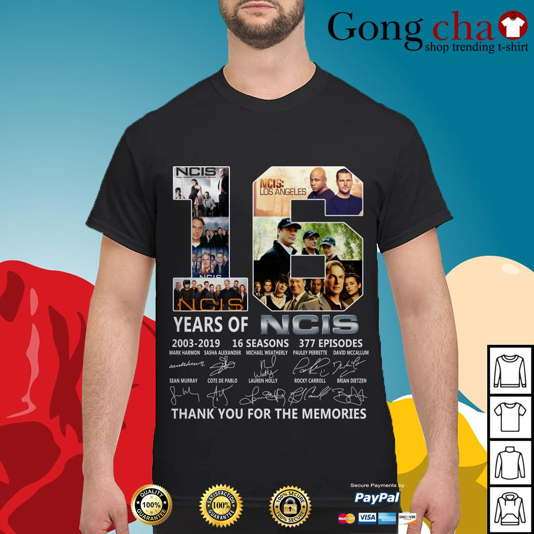 16 years of NCIS 2003-2019 16 seasons 377 episodes thank you for the memories shirt